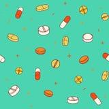 Teste padrão sem emenda colorido com comprimidos e cápsulas ilustração do vetor