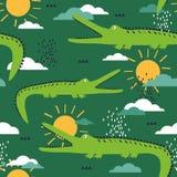 Teste padrão sem emenda colorido com crocodilos, céu Fundo bonito decorativo com r?pteis ilustração royalty free