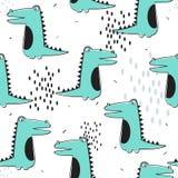 Teste padrão sem emenda colorido com crocodilos felizes Fundo bonito decorativo com r?pteis ilustração stock