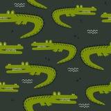 Teste padrão sem emenda colorido com crocodilos hsppy Fundo bonito decorativo, répteis ilustração stock