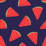 Teste padrão sem emenda colorido com fatias cor-de-rosa de melancia fresca no fundo roxo Contexto com o verão delicioso ilustração do vetor