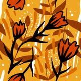Teste padrão sem emenda colorido com flores, folhas ilustração do vetor