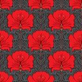 Teste padrão sem emenda colorido com flores vermelhas Fotografia de Stock