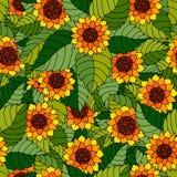 Teste padrão sem emenda colorido com girassóis e folhas no estilo aciganado ilustração do vetor