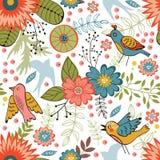 Teste padrão sem emenda colorido com pássaros e florescência Foto de Stock Royalty Free