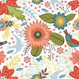Teste padrão sem emenda colorido com pássaros e florescência Fotografia de Stock Royalty Free