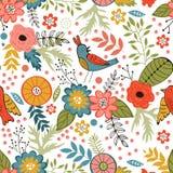 Teste padrão sem emenda colorido com pássaros e florescência Imagem de Stock Royalty Free