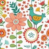 Teste padrão sem emenda colorido com pássaros e florescência Imagens de Stock Royalty Free