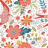 Teste padrão sem emenda colorido com pássaros e florescência Imagens de Stock