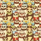 Teste padrão sem emenda colorido com pandas engraçadas Imagem de Stock Royalty Free