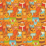 Teste padrão sem emenda colorido com raposas engraçadas ilustração stock
