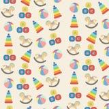 Teste padrão sem emenda colorido com tipo diferente dos brinquedos Fotografia de Stock