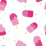 Teste padrão sem emenda colorido cor-de-rosa do gelado do picolé do divertimento, fundo feliz da repetição com estrelas e pontos  ilustração stock
