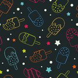 Teste padrão sem emenda colorido de néon do gelado do picolé do divertimento, fundo colorido e fresco feliz da repetição com as e ilustração royalty free