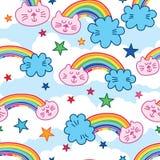 Teste padrão sem emenda colorido do arco-íris da nuvem do gato ilustração do vetor