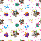 Teste padrão sem emenda colorido do feliz aniversario Imagem de Stock Royalty Free