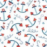 Teste padrão sem emenda colorido do mar com âncoras Imagem de Stock Royalty Free