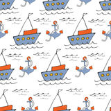 Teste padrão sem emenda colorido do mar com barcos e âncoras Fotos de Stock