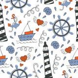Teste padrão sem emenda colorido do mar com barcos e âncoras Imagem de Stock