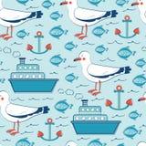 Teste padrão sem emenda colorido do mar com gaivotas Fotografia de Stock