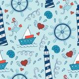 Teste padrão sem emenda colorido do mar com volantes Fotografia de Stock Royalty Free