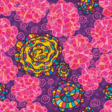 Teste padrão sem emenda colorido do redemoinho cor-de-rosa da flor da aquarela Imagens de Stock