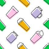 Teste padrão sem emenda colorido dos batidos Superfoods e da saúde ou do conceito do alimento da dieta da desintoxicação na linha ilustração stock