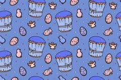 Teste padrão sem emenda colorido dos bolos da Páscoa ilustração stock