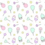 Teste padrão sem emenda colorido dos desenhos animados bonitos com doces, gelado, pirulito e algodão doce ilustração stock