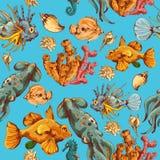 Teste padrão sem emenda colorido esboço das criaturas do mar ilustração royalty free