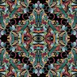 Teste padrão sem emenda colorido floral do vintage Backgrou do vetor do damasco Fotos de Stock Royalty Free