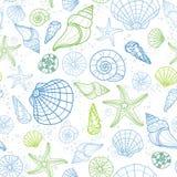 Teste padrão sem emenda colorido fresco com vários escudos, moluscos, caracóis do und da estrela do mar, divertimento sob o fundo ilustração royalty free