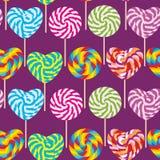 Teste padrão sem emenda colorido, pirulitos dos doces, bastão de doces espiral Doces na vara ilustração royalty free