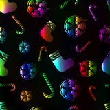 Teste padrão sem emenda colorido vermelho do Natal com a bola do ano novo, doces, peúga Foto de Stock Royalty Free