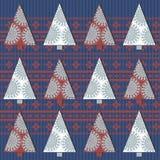 Teste padrão sem emenda com árvore de Natal e o ornamento à moda Fotografia de Stock Royalty Free