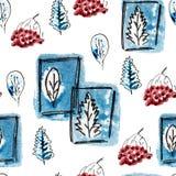 Teste padrão sem emenda com árvore dos azuis marinhos, bagas de Rowan no inverno Entregue o preto a mão livre tirado, a ilustraçã ilustração stock