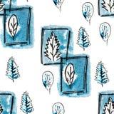 Teste padrão sem emenda com árvore dos azuis marinhos, folha no inverno Entregue o preto a mão livre tirado, a ilustração azul e  ilustração do vetor