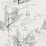 Teste padrão sem emenda com árvores, arbustos, folha, animais no fundo claro no estilo do vintage Imagem de Stock