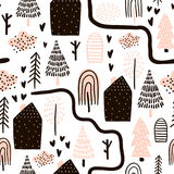 Teste padrão sem emenda com árvores, casas Fundo da floresta Textura criançola para a tela, matéria têxtil Ilustração do vetor ilustração royalty free