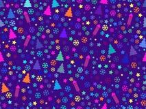 Teste padrão sem emenda com árvores e flocos de neve de Natal Teste padrão do Natal ilustração royalty free