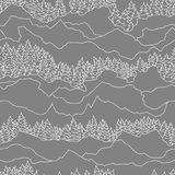 Teste padrão sem emenda com árvores e montanhas Fotos de Stock