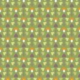 Teste padrão sem emenda com árvores e os cogumelos abstratos Imagem de Stock Royalty Free