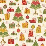 Teste padrão sem emenda com árvores e os presentes decorados Foto de Stock