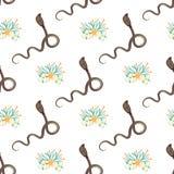 Teste padrão sem emenda com ícone do estilo dos desenhos animados da cobra com flores tropicas, folhas Fundo com caráter para o p ilustração stock