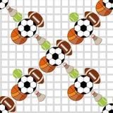 Teste padrão sem emenda com ícones do esporte Imagens de Stock Royalty Free