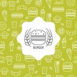Teste padrão sem emenda com ícones do fast food Fotografia de Stock Royalty Free