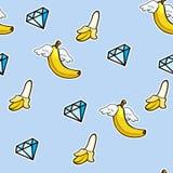 Teste padrão sem emenda com ícones do kline de bananas do voo e diamantes - rabiscar o fundo abstrato ilustração royalty free