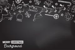 Teste padrão sem emenda com ícones do xmas Fundo do Feliz Natal Ilustração do vetor ilustração stock