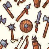 Teste padrão sem emenda com ícones medievais das armas Fotos de Stock Royalty Free