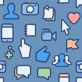 Teste padrão sem emenda com ícones sociais dos meios Foto de Stock Royalty Free